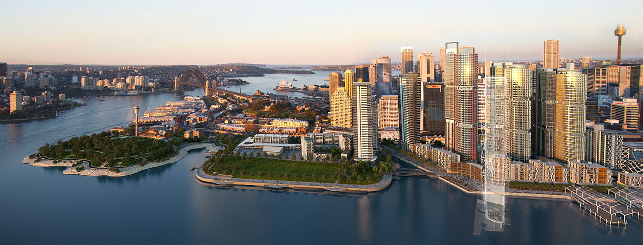 Aerial view of Barangaroo Sydney