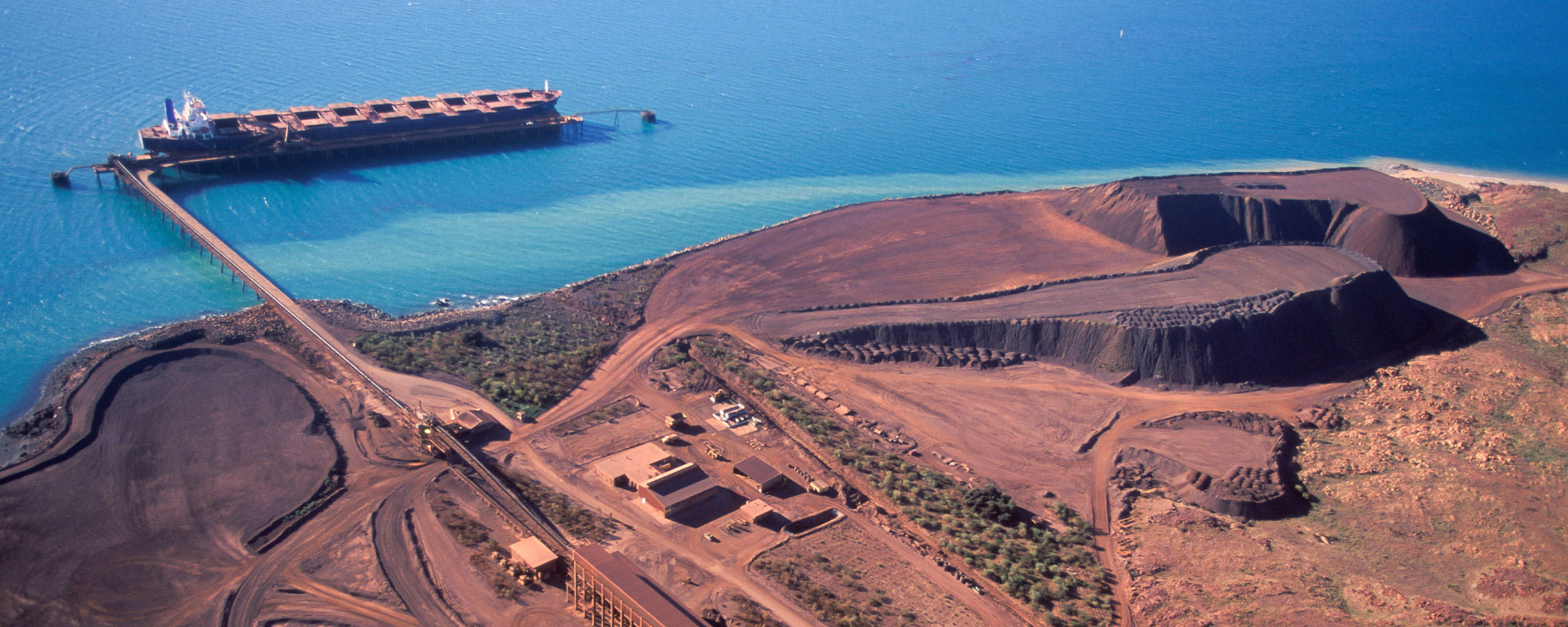 Aerial view of iron ore mine and terminal