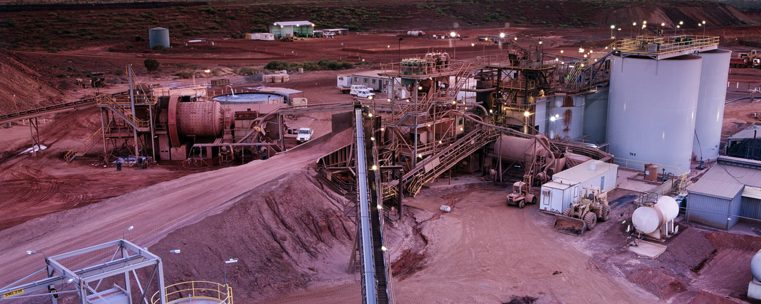 Elevated view of Gold Mine processing plant just before Sunrise