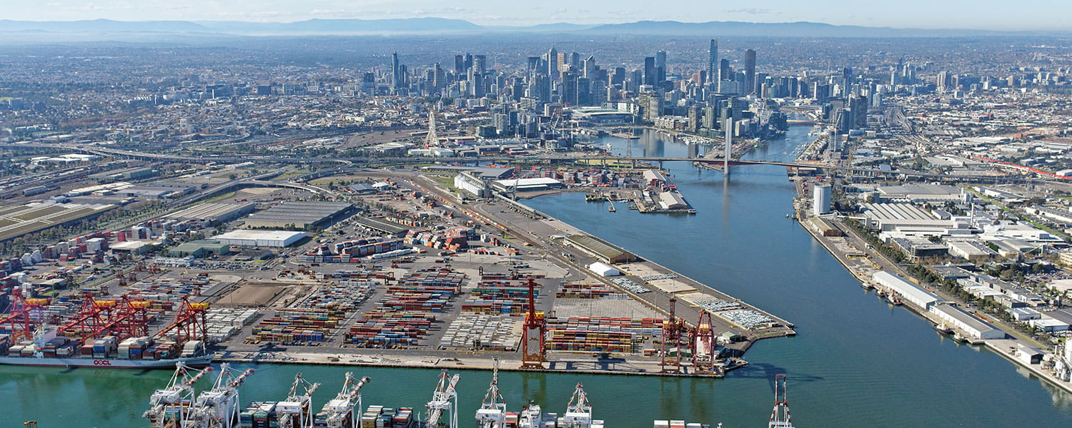 aerial view of port of melbourne
