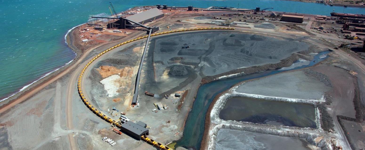 aerial view of port construction