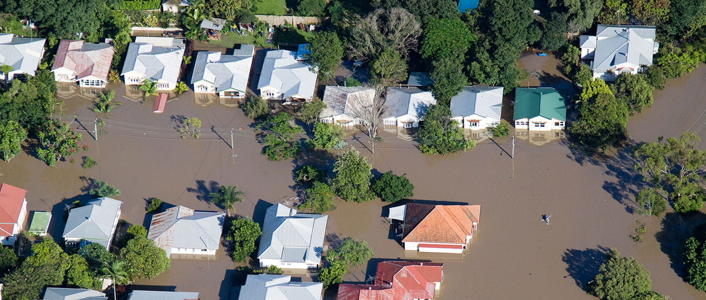 Aerial view of flooded houses