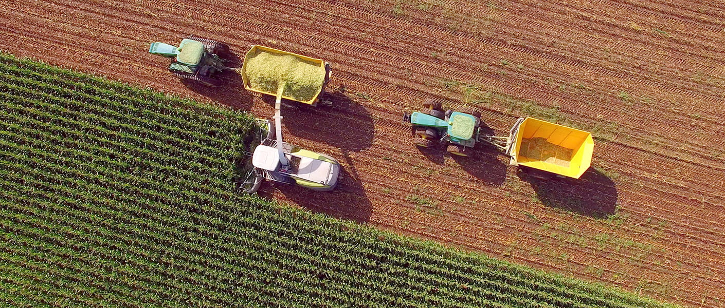 aerial shot of farm tractor