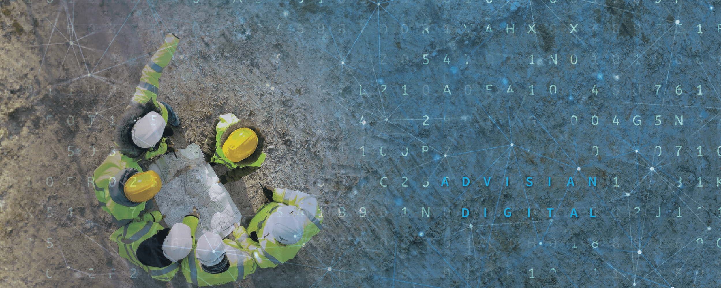 aerial shot of engineers with data overlay