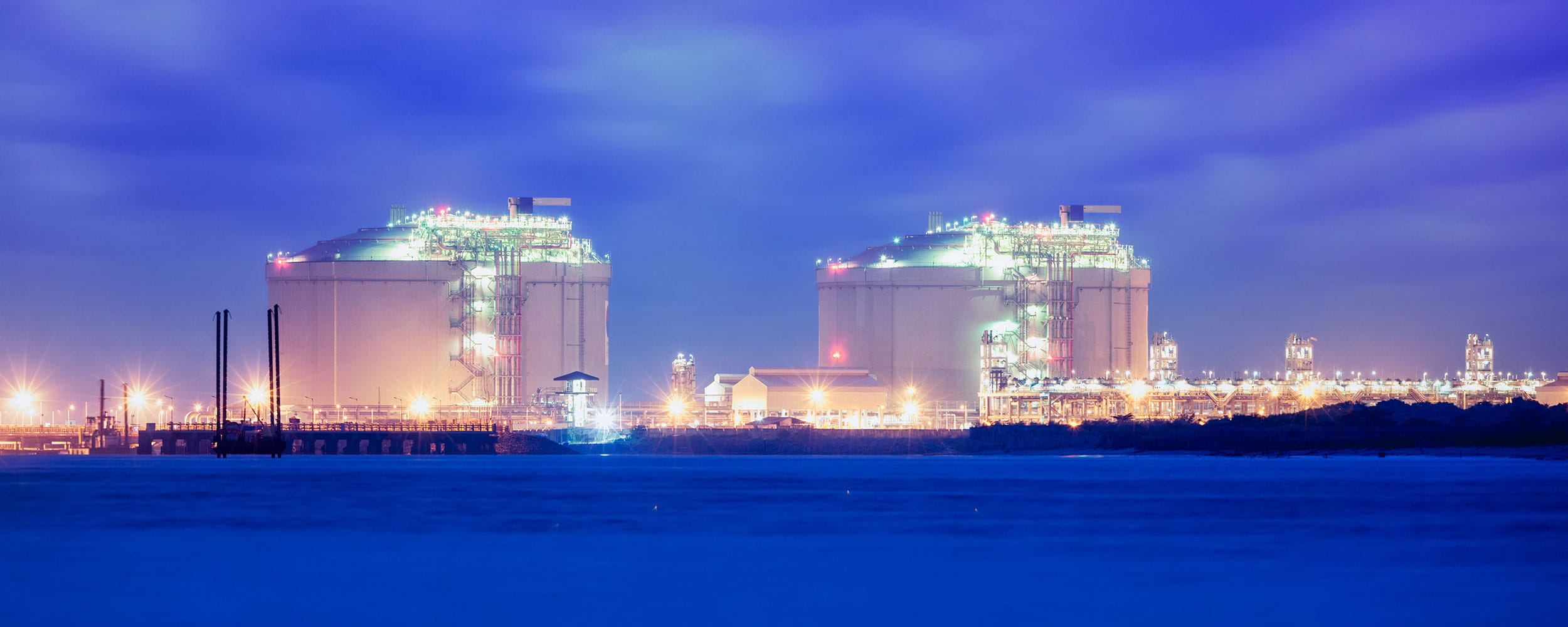 Night view of an LNG facility