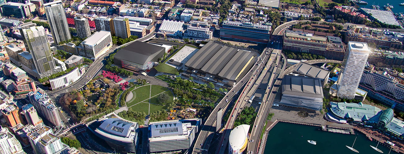 Aerial view of darling harbour sydney