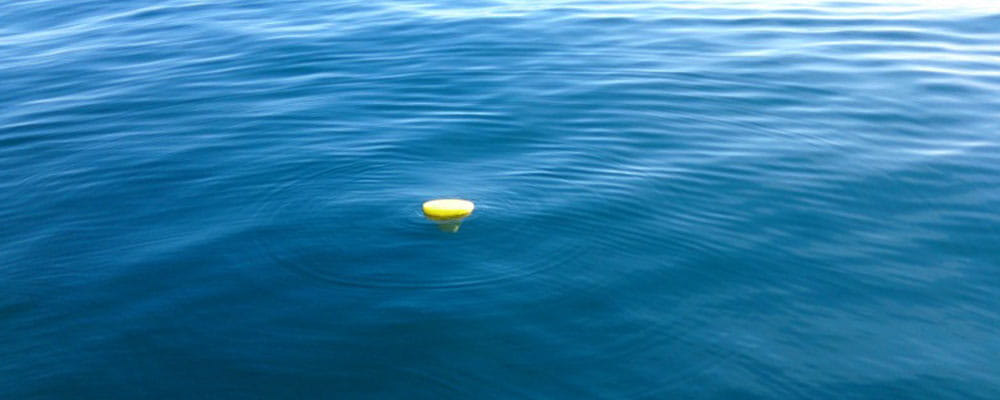 Advisian oil spill tracking buoy in water