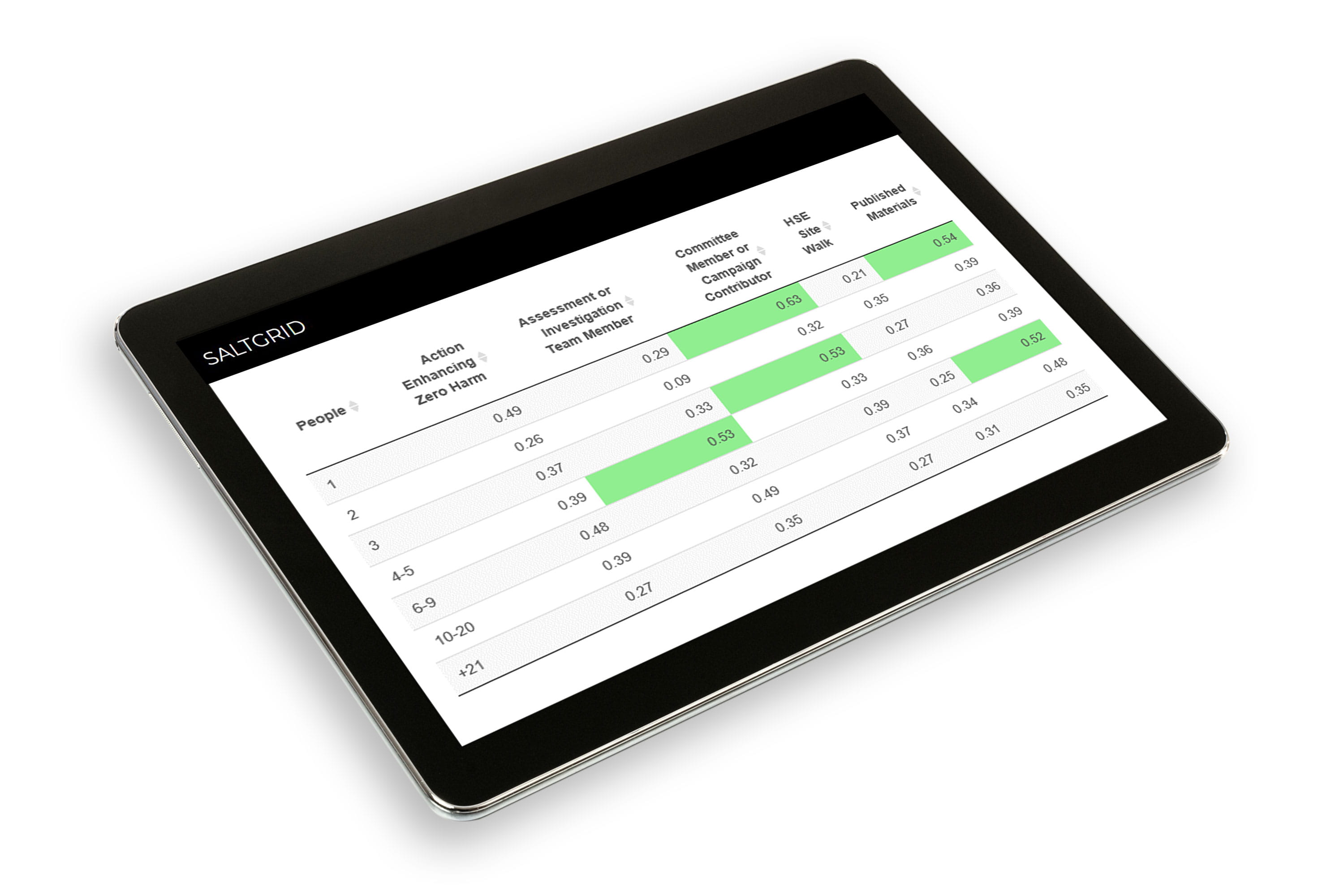 Tablet with SaltGrid screenshot